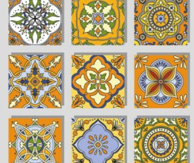 Seamless pattern tile floral vector set 04
