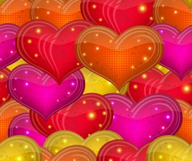 Shiny heart shapes seamless pattern vector
