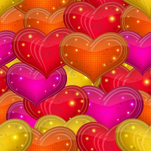 Shiny heart shapes seamless pattern vector