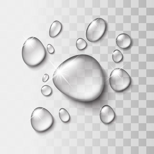 Shiny water drops vector illustration set 01