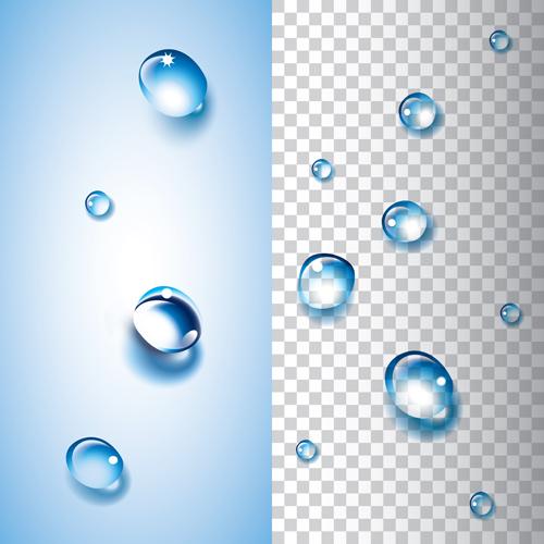 Shiny water drops vector illustration set 02