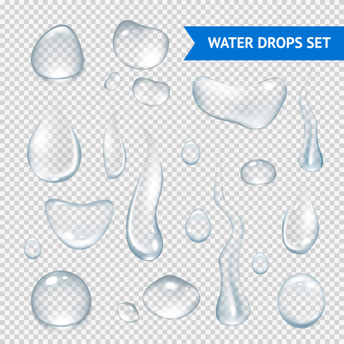 Shiny water drops vector illustration set 04