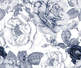 Sketch flowers art pattern seamless vector 01