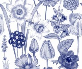 Sketch flowers art pattern seamless vector 03