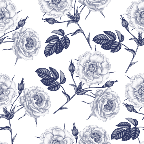 Sketch flowers art pattern seamless vector 04