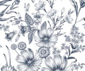 Sketch flowers art pattern seamless vector 05