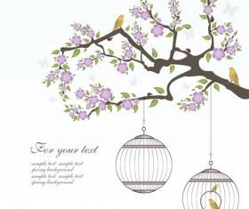 Spring birds with flower background art