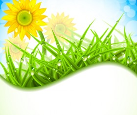 Spring flower with grass art background 02
