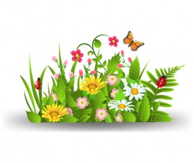 Spring flower with grass art background 04