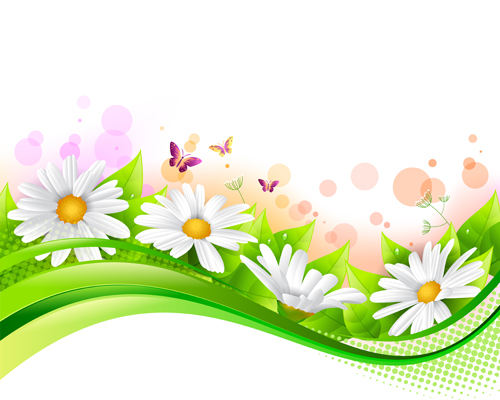 Spring Flower With Grass Art Background 05 Free Download