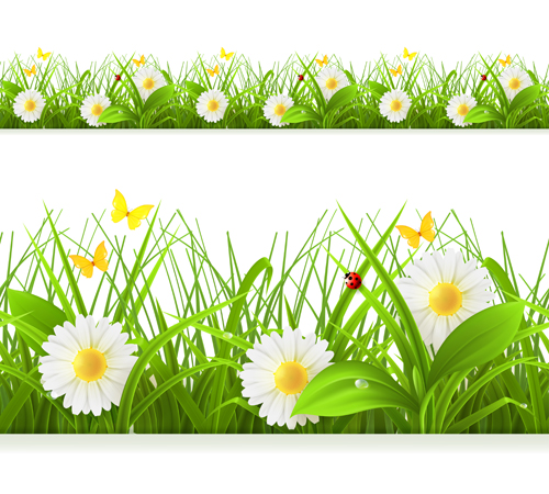 Spring grass borders vector material set 04 - Vector Frames & Borders ...
