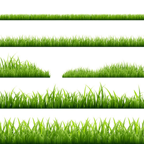 Spring grass borders vector material set 05