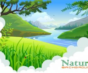 Spring nature landscapes vectors material 02