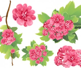 Spring pink flowers vector material
