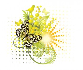 Stylish floral background with butterfly vector