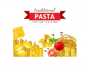 Traditional pasta art background vector 01