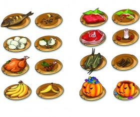 Various food vintage icons vectors set 01