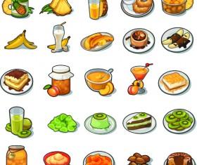 Various food vintage icons vectors set 02