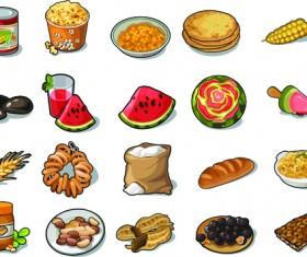 Various food vintage icons vectors set 03
