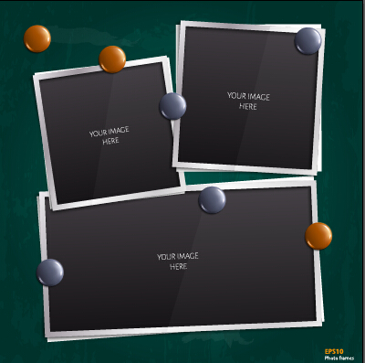 Vector empty photo frames design material 05