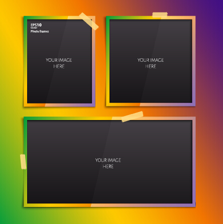 Vector empty photo frames design material 06