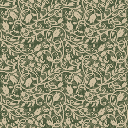 Vector floral retro seamless pattern set 09