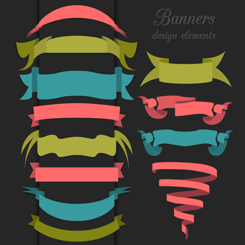 Vector set of ribbon vintage banners 01