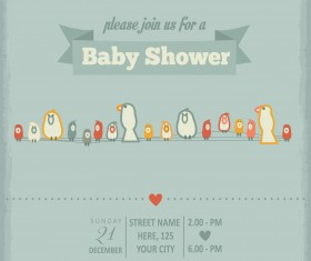 Vintage baby shower Invitation cards vector 04