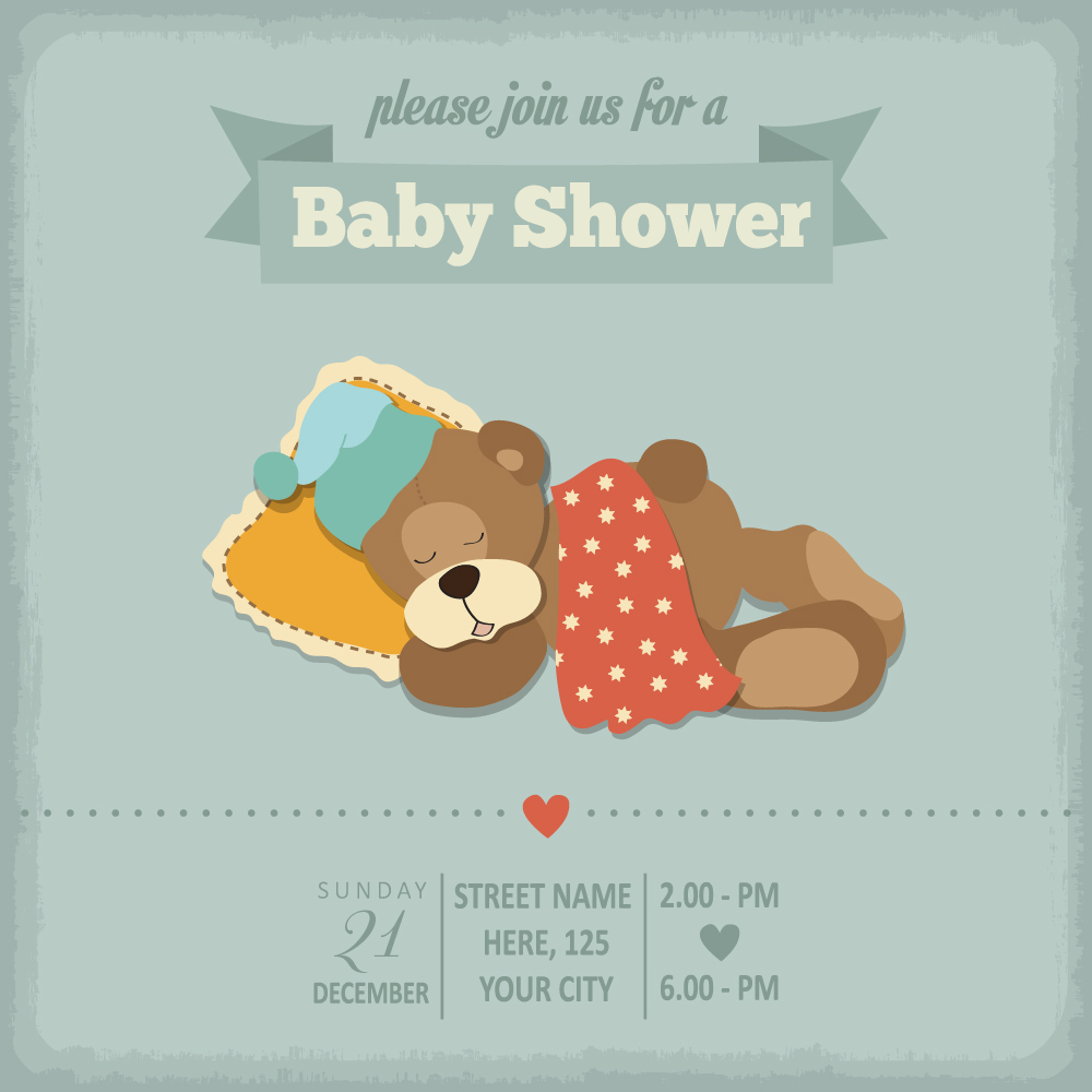 vintage baby shower invitation cards vector 06 vector card free