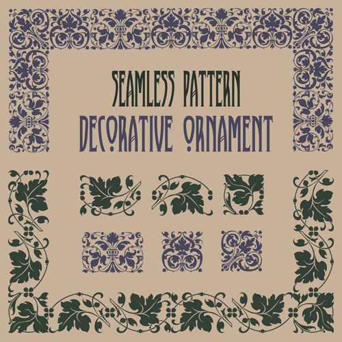 Vintage border pattern with frame design vector 04