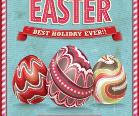 Vintage easter holiday poster vector set 02