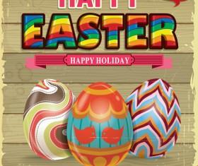Vintage easter holiday poster vector set 05
