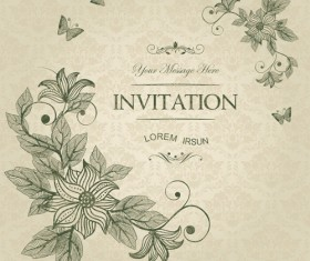 Vintage flower with butterfly Invitation cards vector