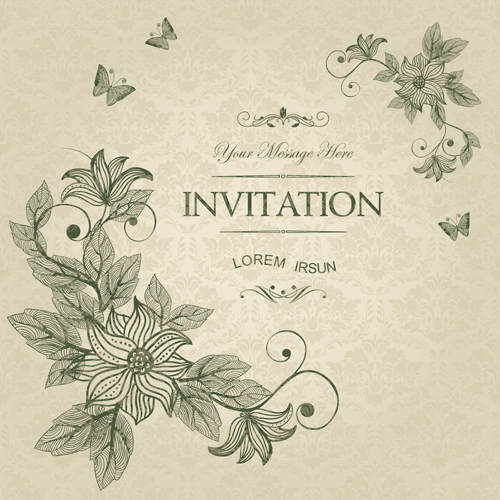 Vintage flower with butterfly Invitation cards vector Vector – Vintage Invitation Cards