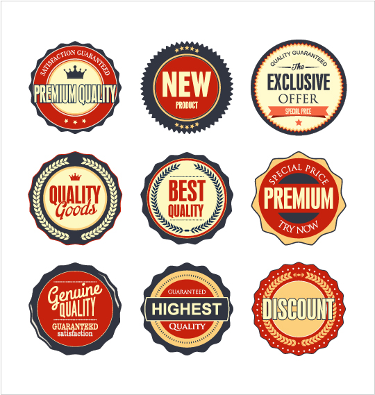 Vintage premium quality labels colored vector 01