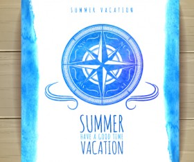 Watercolor summer travel creative background 03