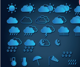 Weather icon blue vectors