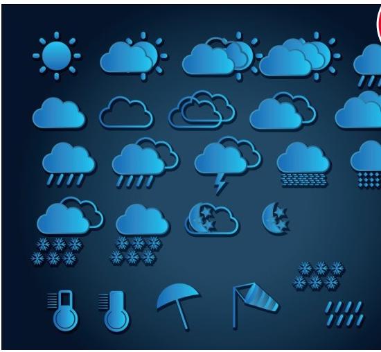 Weather icon blue vectors