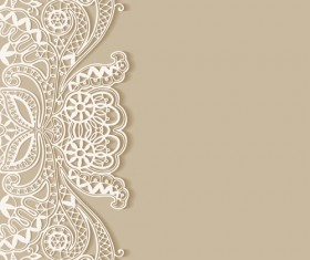White lace with colored background vector set 03