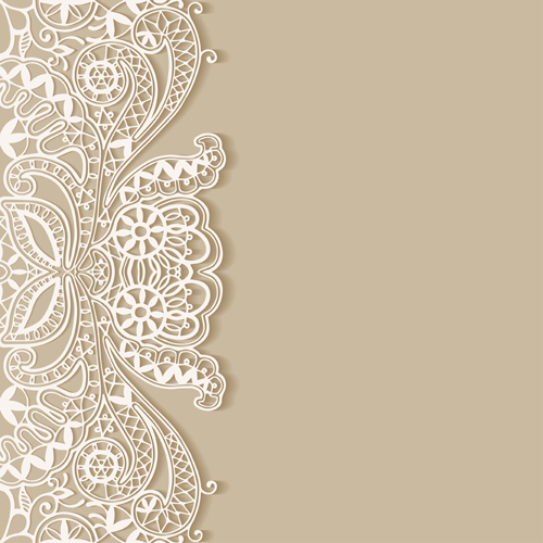 White Lace With Colored Background Vector Set 03 Free Download
