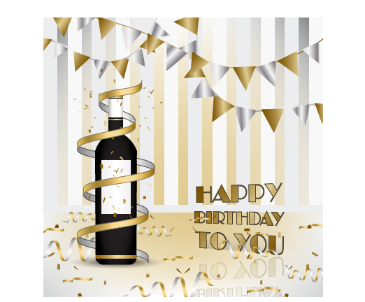 Wine with Happy Birthday card vector free download
