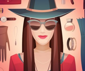 Woman fashion elements vectors background 02