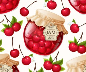 jam glass jar seamless pattern vector 03