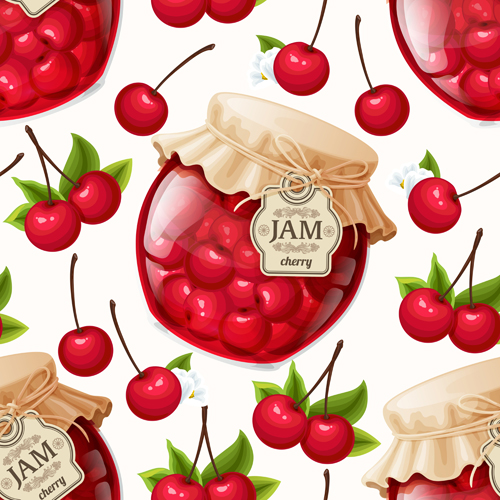 jam glass jar seamless pattern vector 03