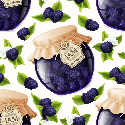 jam glass jar seamless pattern vector 04