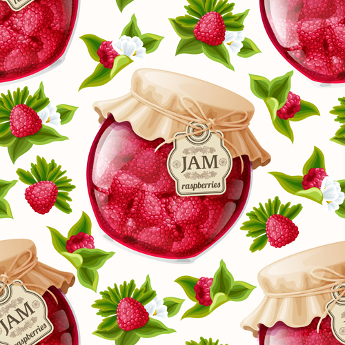 jam glass jar seamless pattern vector 05