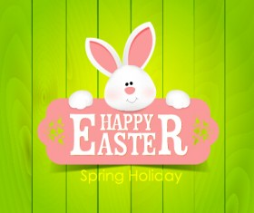 lovely rabbit with easter holiday background vector 01
