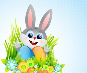 lovely rabbit with easter holiday background vector 02