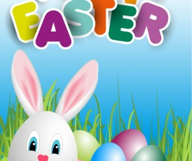 lovely rabbit with easter holiday background vector 03