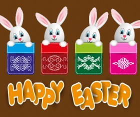 lovely rabbit with easter holiday background vector 04